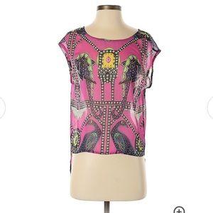 Mara Hoffman pink elephant sheer high-low blouse